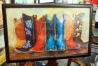 "Print Of Seven Painted Cowboy Boots, Framed Under Glass, 36.5"" Wide x 23"" High"