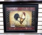 "Kinberly Poloson (American) ""Cock-A-Doodle-Doo"" Print, Framed Under Glass, 24' Wide x 20"" High"