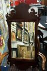 "Wall Hanging Beveled Mirror With Scroll Worked Wood Frame, 19"" Wide x 37.5"" Tall"