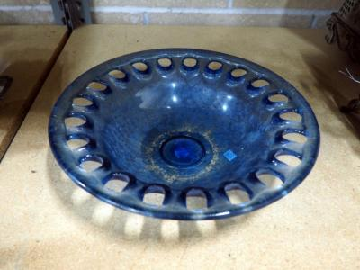 "Blue Glass Bowl 12"" Diameter x 3"" Deep, Made in Spain"