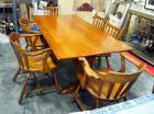 "Wood Dining Room Table, 38"" Wide x 72"" Long, With Three Slat Back Captains Chairs, And Three Other Slat Back Chairs, Some Cosmetic Wear"