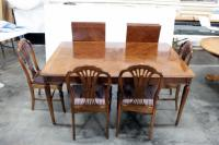 "Dining Room Table, 42"" Wide x 66"" Long, With Two Leaves, Each Adds 20"", Five Chairs With Padded Seats,"