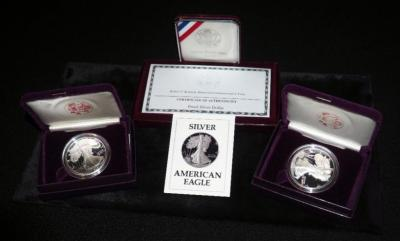 American Eagle,1 Ounce Proof Silver Bullion Coins, Qty. 2 (1987 & 1989) And 1998 Robert F. Kennedy Silver Proof Dollar Commemorative Coin