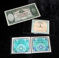 1944 WWII French Francs Qty.2, 1943 Allied Military Currency, 1 Lira Note And 1 Pound From The Commonwealth Of Australia