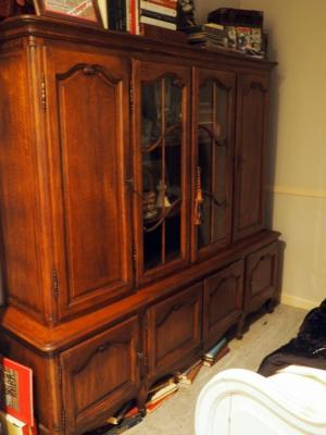 "Large Solid Wood 4-Door Curio Cabinet, 69.5"" X 78.5"" X 17.5"",  Contents Not Included, Bidder Responsible For Proper Removal"
