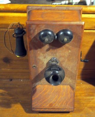 "Antique Kellogg Co. Wood Crank Wall Telephone Complete 19"" X 14"" X 11"