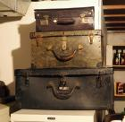 Vintage Leather Carrying Cases, With Metal Hardware,  Qty 3