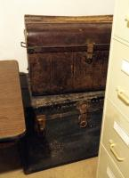 "Antique Metal Travel Trunks, 18"" X 27"" X 19"" And  22"" X 32"" X 20"", Qty. 2"