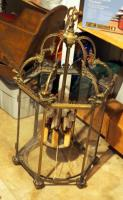 "Antique Brass Like Metal 6 Light Chandelier, 40"" X 20"" X 22"",  Needs Repair, Missing Some Glass Panels, Heavy"