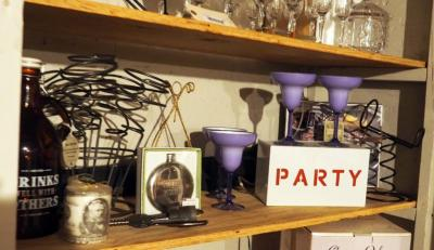 "Lighted, ""Party"""" Sign, Metal Wine Bottle Holders, Flask, Bottle Opener, Black Light And More, Contents of Shelf"