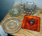 Glass Ashtray Collection, Including Vintage Glass Lighter, 11 Total Pieces