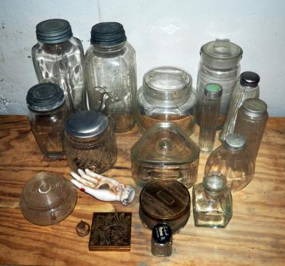 Vintage Glass Collection, Including Vanity Jars, And More, Total 17 Pieces