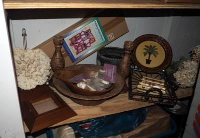 Home Decor, Including Decorative Bowls, Candlesticks, Photo Screen, Coral And More, Contents Of Shelf