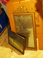 "Antique Hall Mirror, 30"" X 15"" And Framed Wolf Print, 13"" X 17"""
