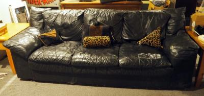 "Leather Sofa, 30"" X 84"" X 38"", Feet Need Repair, Bidder Responsible For Proper Removal"