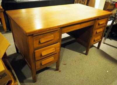 "Solid Wood 6-Drawer Desk, 30"" X 60"" X 32"", Contents Not Included, Bidder Responsible For Proper Removal"