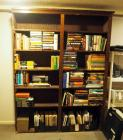 "Solid Wood Bookcase With 5 Shelves, 80"" X 60"" X 11"", Contents not Included, Missing Front Doors, Bidder Responsible For Proper Removal"