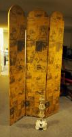 "3-Panel Room Divider/Screen, 77"" X 48""(Has Some Water Damage) And Decorative Metal Candle Stand"