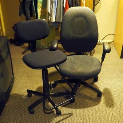Rolling Adjustable Office Chairs, Qty 2