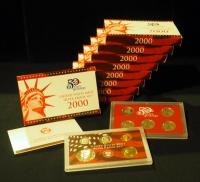 US Mint 2000 State Quarters Silver Proof Sets,  Qty 9
