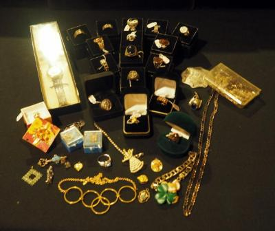 Costume Jewelry Assortment, Including Men And Women's Rings, Pins, Cuff Links And More, Qty 40 Pieces