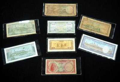 Cambodian Paper Money, 1, 5, 10, 20 And 50 Riels, Total Qty. 8 Paper Notes