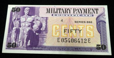 50 Cents US Military Payment Certificate, Series 692