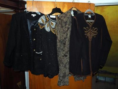 R & M Richards Floral Evening Jacket Size 14P, Laurenc Kazar Sequin Blouse Size 1x, Joan Rivers Woven Jacket 18W And Bob Mackie Jacket Size XL with Embroidered Zipper