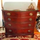 "Antique 4 Drawer Chest Of Drawers With Bowed Front And Glass Top, 31"" x 28"" x 18"", Contents Not Included"