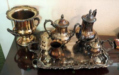Silver Plate Tea Service Set Including Pitchers, Cream And Sugar, Tray And Champagne Bucket