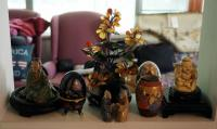 Asian Ceramic Figurines, Glass Bonsai Tree, Egg Shaped Jewelry Box and More, Contents Of Shelf