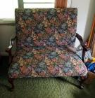 "Early American Upholstered 2 Person Bench With Cabriole Legs, 40"" x 45"" x 25"""