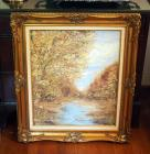 "Framed Autumn Landscape By Mary Paterson, 32"" x 27"""