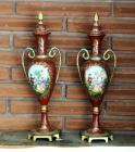 "Hand Painted Metal Decorative Urns, 16"" Tall, Qty 2,"
