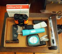 Battery Powered Flashlight Assortment, Binoculars, Hand Tools And More, Contents Of Flat