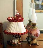 "Hand Painted Porcelain Oil Lamp, 26"" Tall And Hand Painted Porcelain Vanity Lamp"