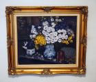 "Framed Oil On Canvas Floral Painting By D. Goetz, 28"" x 31"""