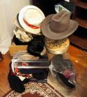 Hat Assortment Including Some Vintage,Straw Hat, Boxes, And More
