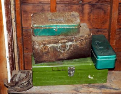 Vintage Metal Tool Boxes With Assorted Hand Tools