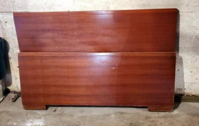 Antique Full Size Solid Wood Head Board, Matching Foot Board And Bed Rails