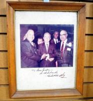 "Autographed Photo Of Hubert Humphrey With Bruce R. Watkins And Leon Jordan, Framed Matted Under Glass 13""W x 16""H"