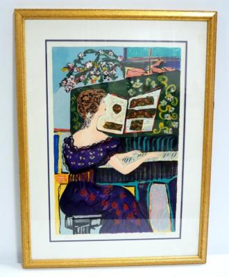 "Artist Proof Of Victorian Woman Playing Piano, Framed Matted Under Glass, 21"" W x 28"" H, Water Marks On Mat"