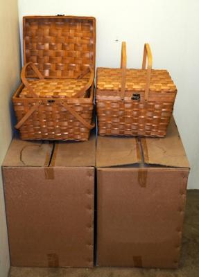 "Large Split Wood Picnic Basket Sets With Hinged Cross Handles, 13"" x 18"" x 15"", Qty 7 Sets Of 2, (H2)"