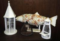 Long Shell Lighted Fish Lamp, Wood/Wire Decorative Bird Houses, Total Qty 4, (O1)
