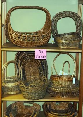 Woven Rattan And Rope Basket Assortment Including Cross Handled Rectangle Trays, Round Trays, Kitten Basket & More, Qty 15, Contents Of 2 Shelves (O1)