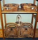 Woven Rattan And Rope Basket Assortment Including Cross Handled Rectangle Trays, Oval Trays & More, Qty 14, Contents Of 2 Shelves (O1)