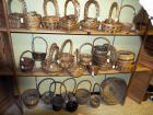 Rattan, Raffia, Rope And Grapevine Basket Assortment, Round Trays, Pot Covers, & Cross Handled Baskets, Qty 53, Contents Of 3 Shelves, (O1)