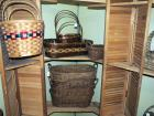 Oval Rattan Baskets With Ear Handles, Tray And Cross Handled Baskets, Various Shapes And Sizes, Qty 9, (O1)