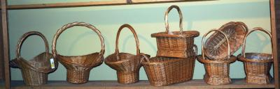 Woven Rattan Cross Handled Baskets, Oval Rectangle, And Hat Shaped, Honey Finish, Qty 9, (O1)