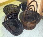 Rattan Basket Assortment With Rolled Rims Including Cross Handled Hat Baskets, Hen Basket And More, Walnut Finish, Qty 8, (O1)